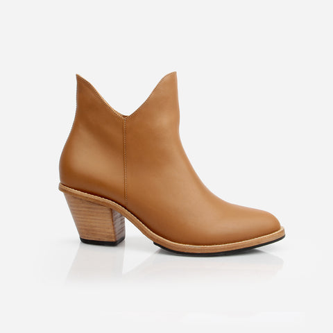 The Two Point Five Ankle Boot - brown leather 2.5-inch stacked heel ankle boot - Poppy Barley