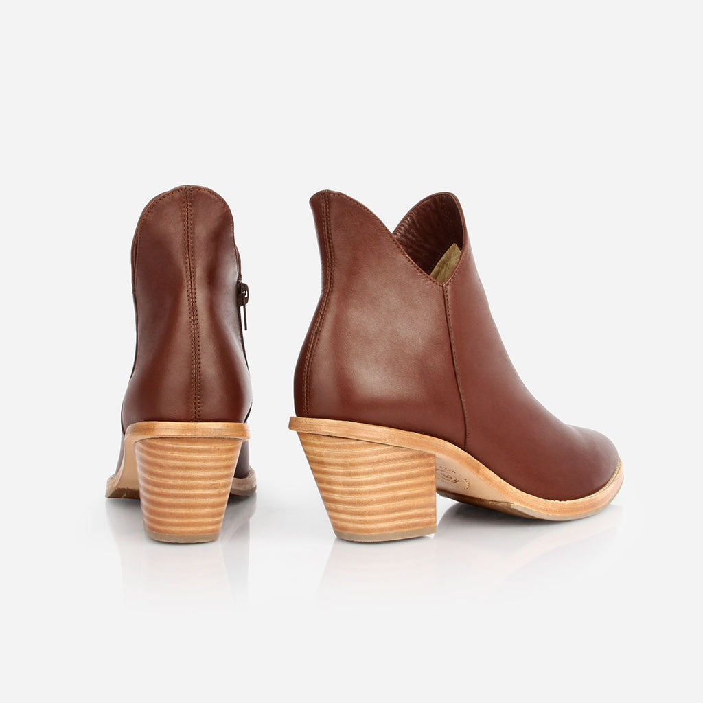 The Two Point Five Ankle Boot - chestnut leather 2.5-inch stacked heel ankle boot - Poppy Barley