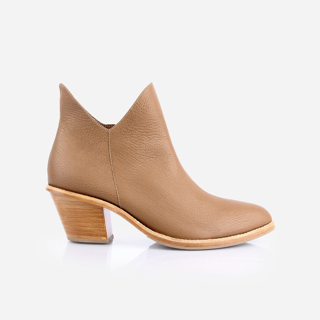 The Two Point Five Ankle Boot - tan pebbled leather 2.5-inch stacked heel ankle boot - Poppy Barley