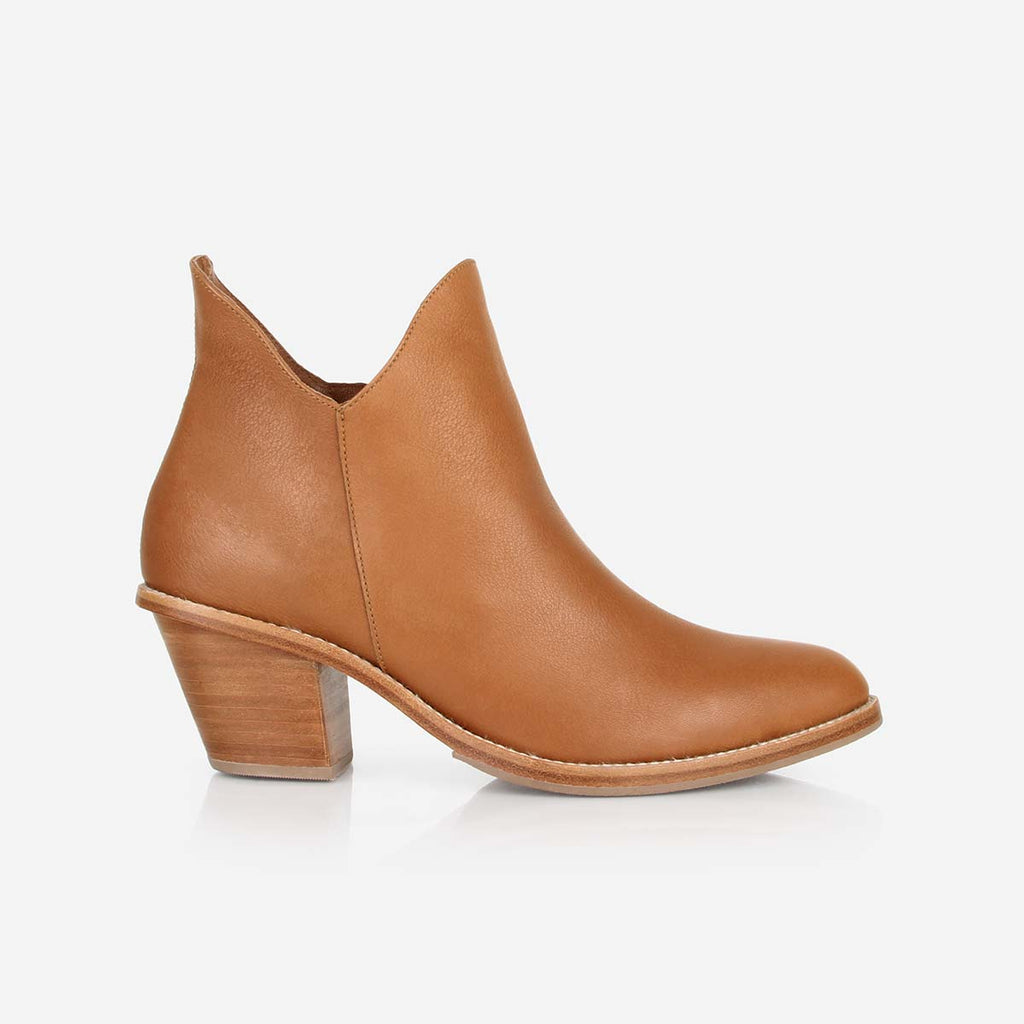 The Two Point Five Ankle Boot - tan leather 2.5-inch stacked heel ankle boot   - Poppy Barley