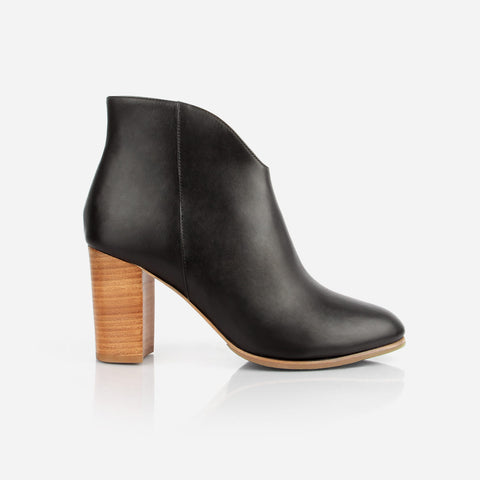 The V Ankle Boot - black leather ankle boot with natural block heel - Poppy Barley
