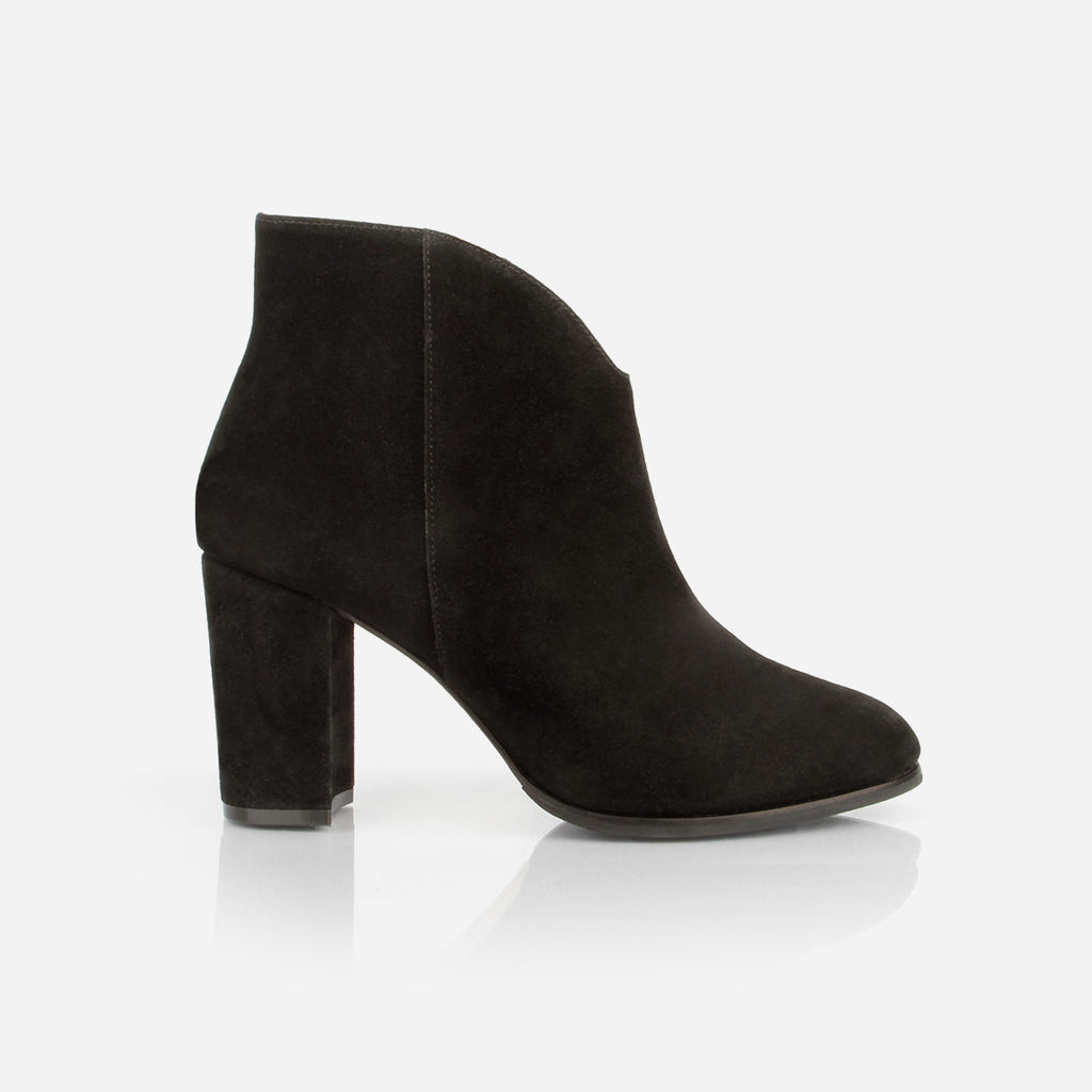 The V Ankle Boot - black suede ankle boot with block heel - Poppy Barley