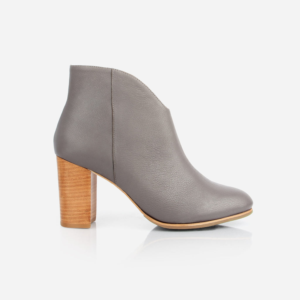 The V Ankle Boot - grey heeled leather ankle boot with natural heel - Poppy Barley