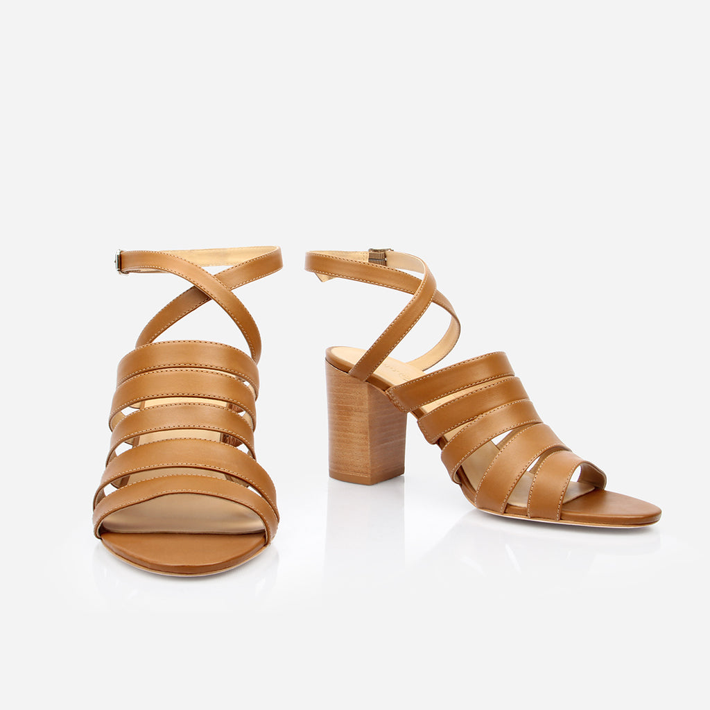 "The Victoria Heeled Sandal - brown leather multi-strap womens 3"" stacked heel - Poppy Barley"