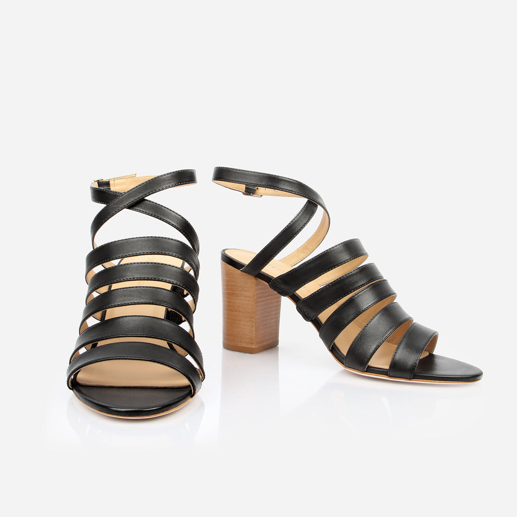 "The Victoria Heeled Sandal - black leather multi-strap womens 3"" stacked heel - Poppy Barley"