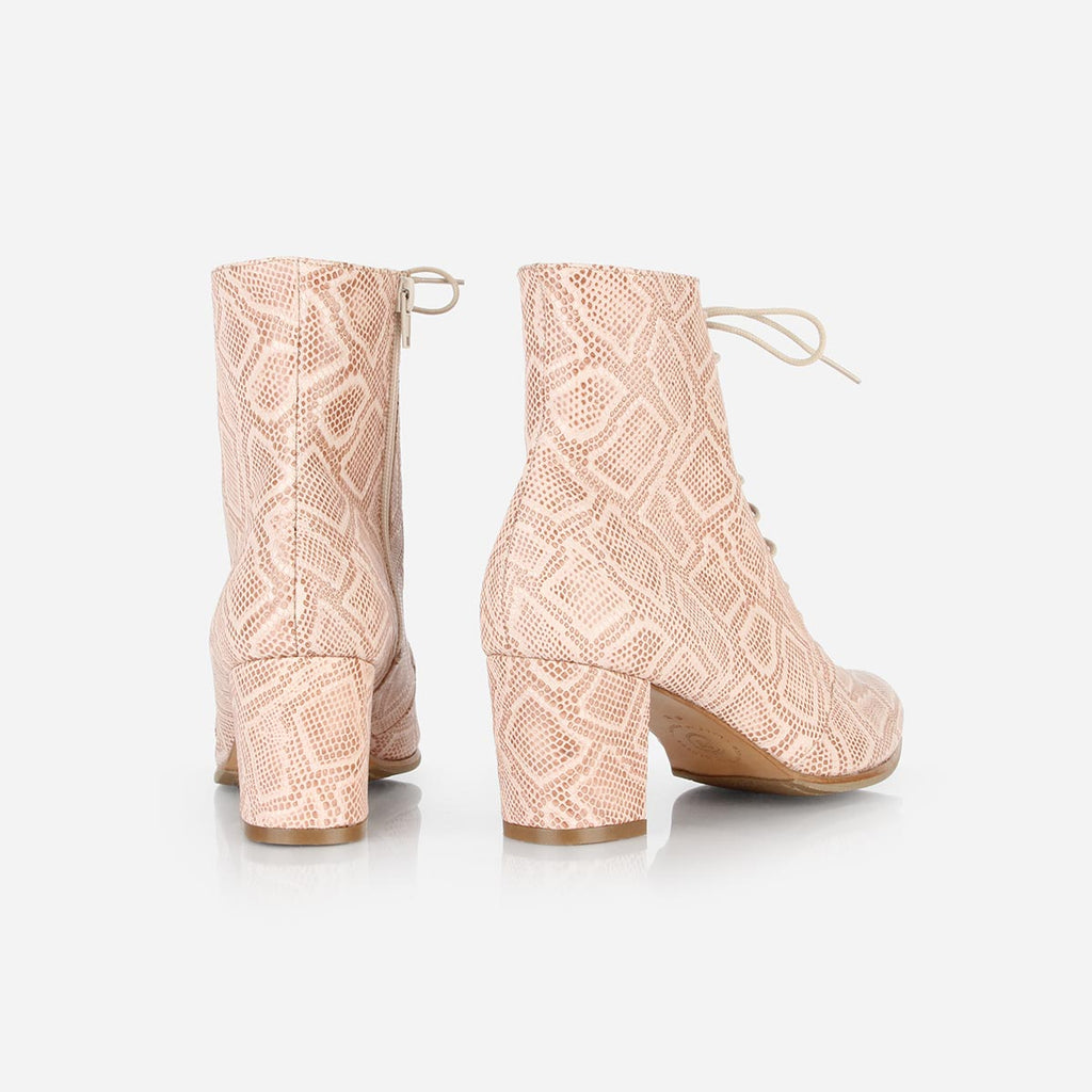 The Victoriana Boot Pink Snake Ready To Wear