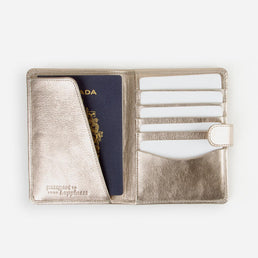 The Voyager Passport Holder Sand Gold