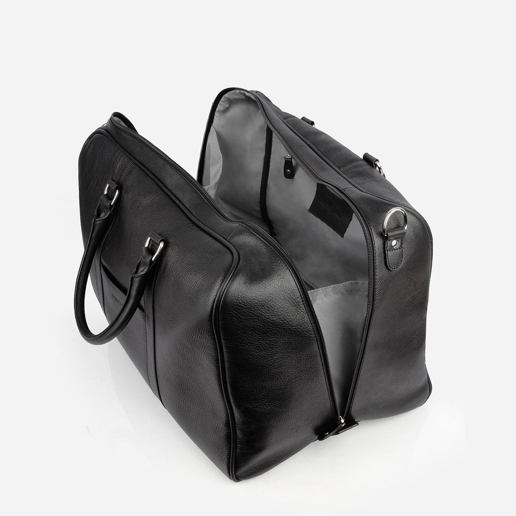 The Weekender - black leather duffle bag - Poppy Barley