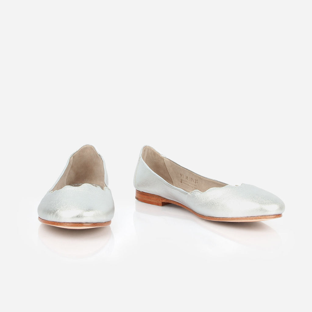 The Yaletown Ballet Flat -  silver metallic leather scallop flat - Poppy Barley