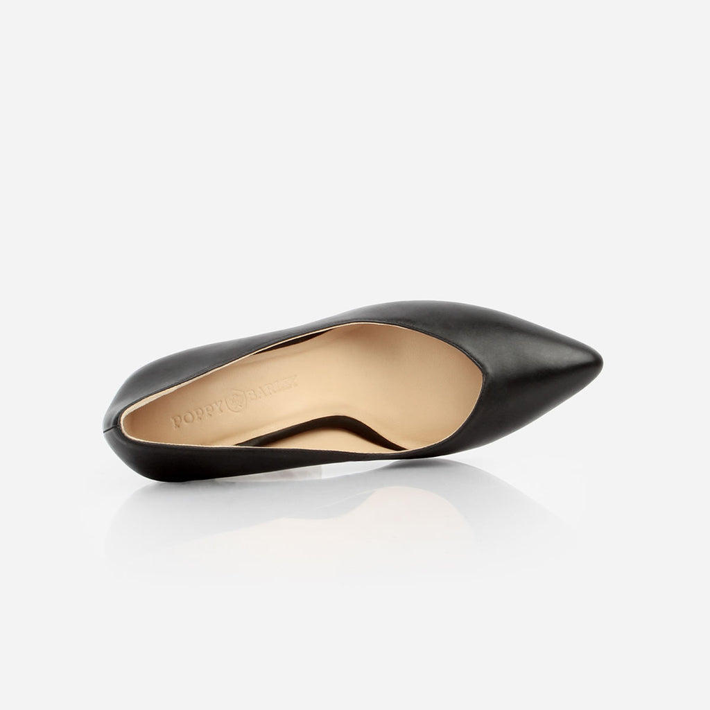 The Yonge Pump - black leather women's pointed toe heel - Poppy Barley