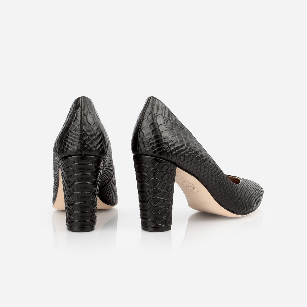 The Yonge Pump - black textured leather women's pointed toe heel - Poppy Barley