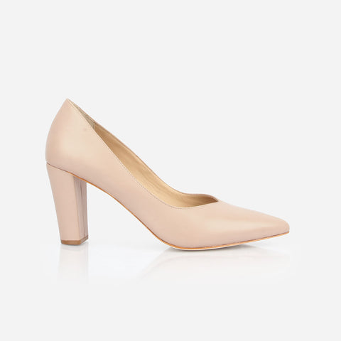 The Yonge Pump - nude leather women's pointed toe heel - Poppy Barley