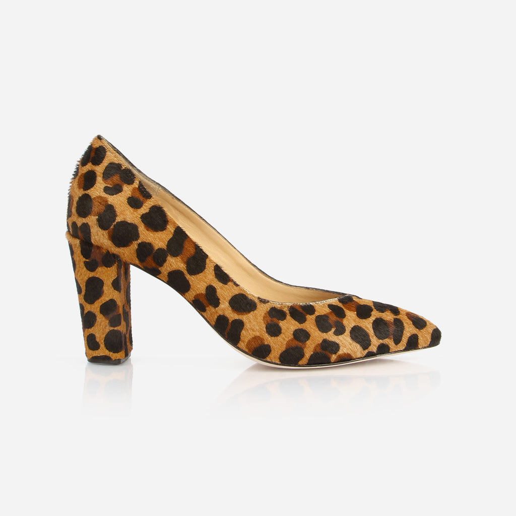The Yonge Pump - leopard print calf hair women's heel - Poppy Barley