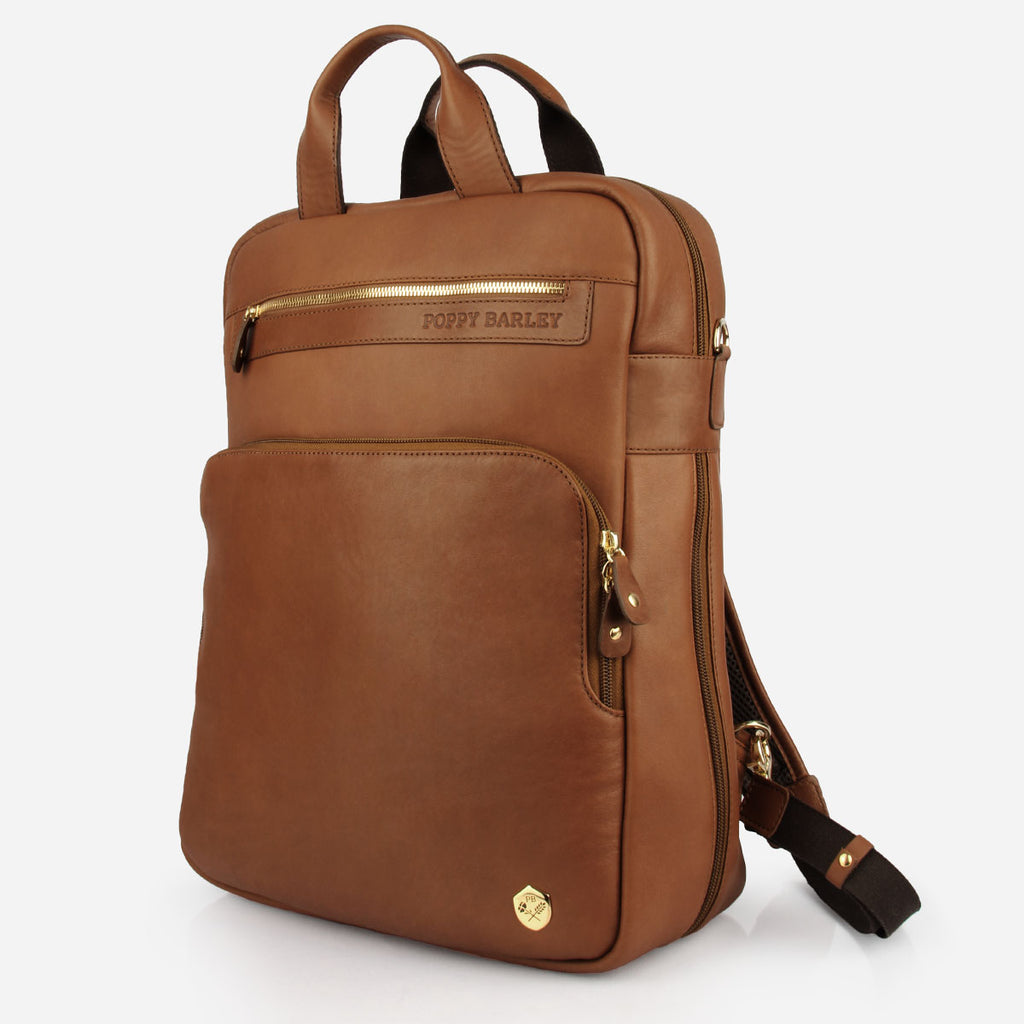 The Backpack - brown leather commuter backpack - Poppy Barley