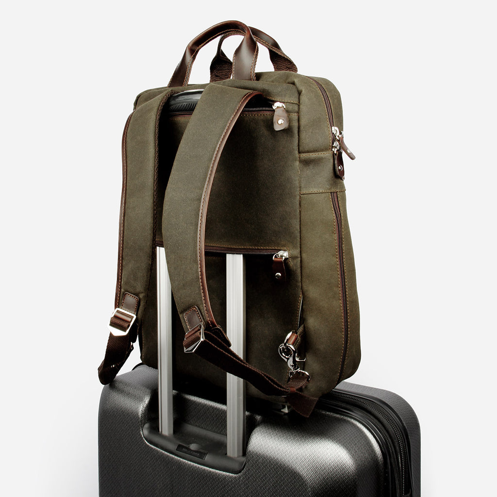The Backpack - army green canvas commuter mens womens backpack - Poppy Barley
