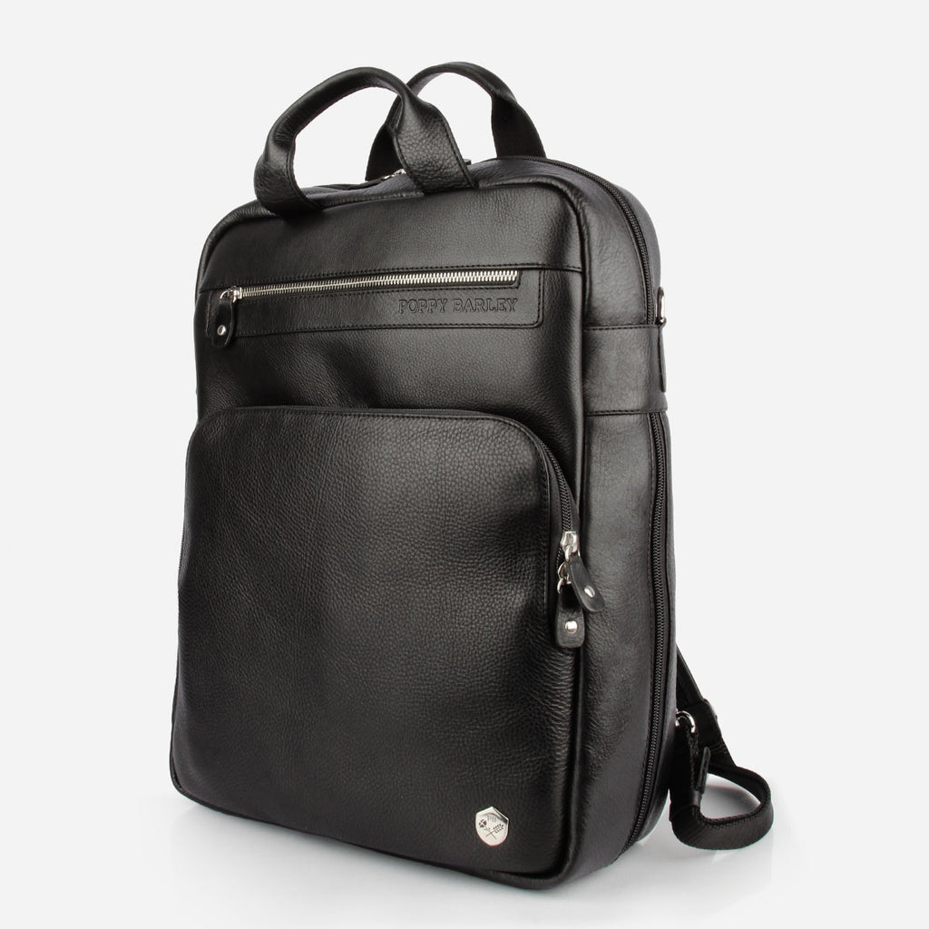 The Backpack in Black Pebble Leather - black leather commuter backpack - Poppy Barley