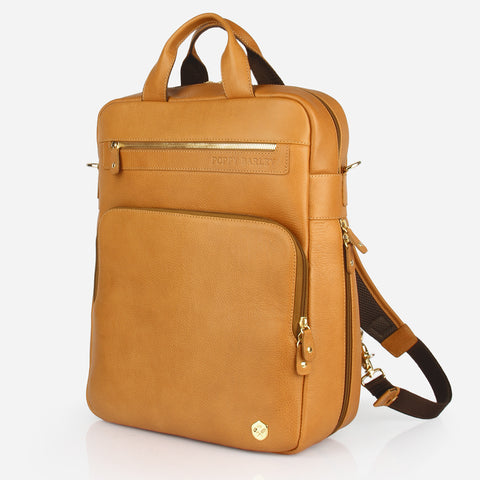 The Backpack - light brown leather commuter womens backpack - Poppy Barley