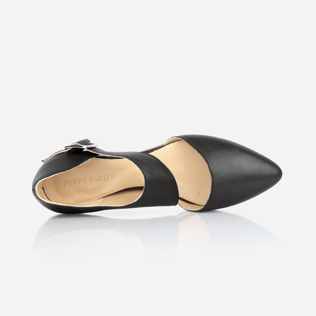 The Beltline Cutout Flat - black leather cut-out womens flat - Poppy Barley