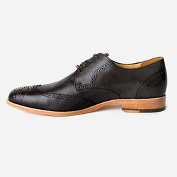 The Calgary Wingtip - black leather wingtip mens dress shoes custom - Poppy Barley