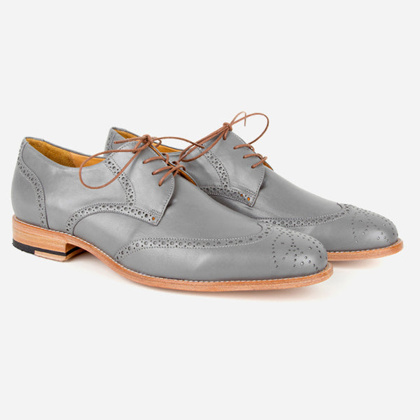 The Calgary Wingtip - grey leather wingtip mens dress shoes custom - Poppy Barley
