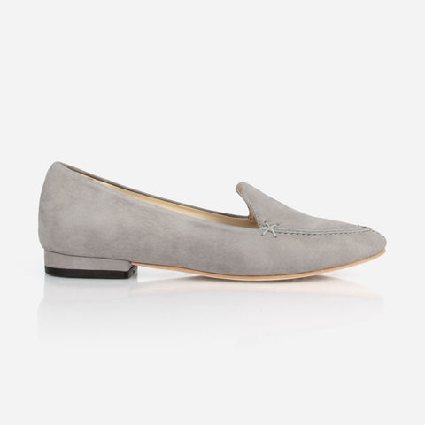 The Classic Loafer - grey nubuck womens flat - Poppy Barley