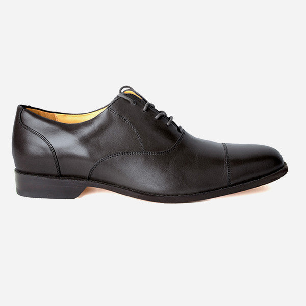 The Edmonton Oxford - black leather mens dress shoe - Poppy Barley