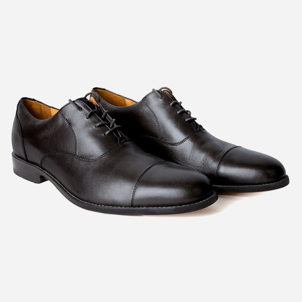 The Edmonton Oxford - black leather mens dress shoes - Poppy Barley