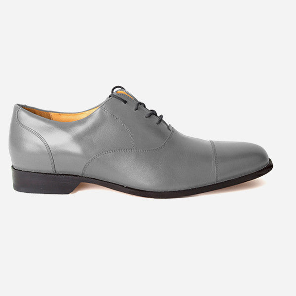 The Edmonton Oxford - mens grey leather dress shoes oxfords - Poppy Barley