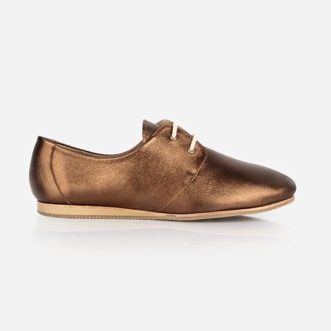 The Eyelet Oxford - metallic bronze leather womens oxford round toe - Poppy Barley