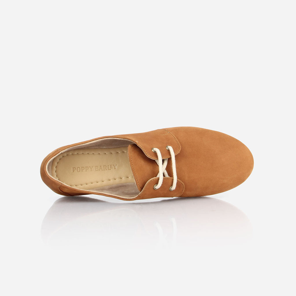 The Eyelet Oxford - tan nubuck causal laced womens shoe - Poppy Barley