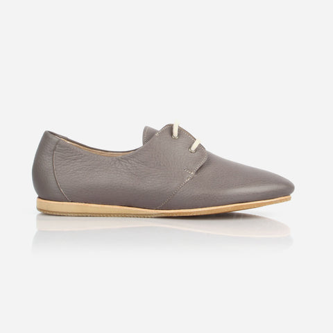 The Eyelet Oxford - grey leather causal laced womens shoe - Poppy Barley