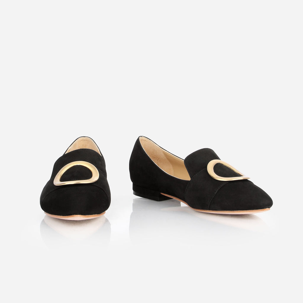 The Fernwood Loafer - black nubuck womens flat with gold hardware accent - Poppy Barley