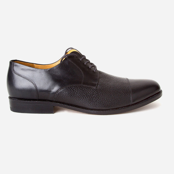 The Jasper Derby - black calf leather and deer leather men's derby dress shoes - Poppy Barley