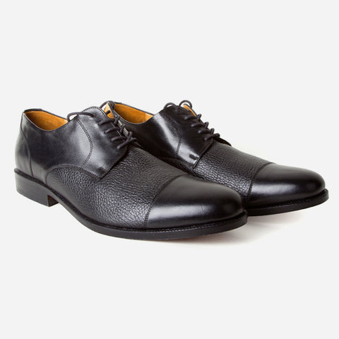 fa903910da267a ... The Jasper Derby - black calf leather and deer leather men s derby  dress shoes - Poppy