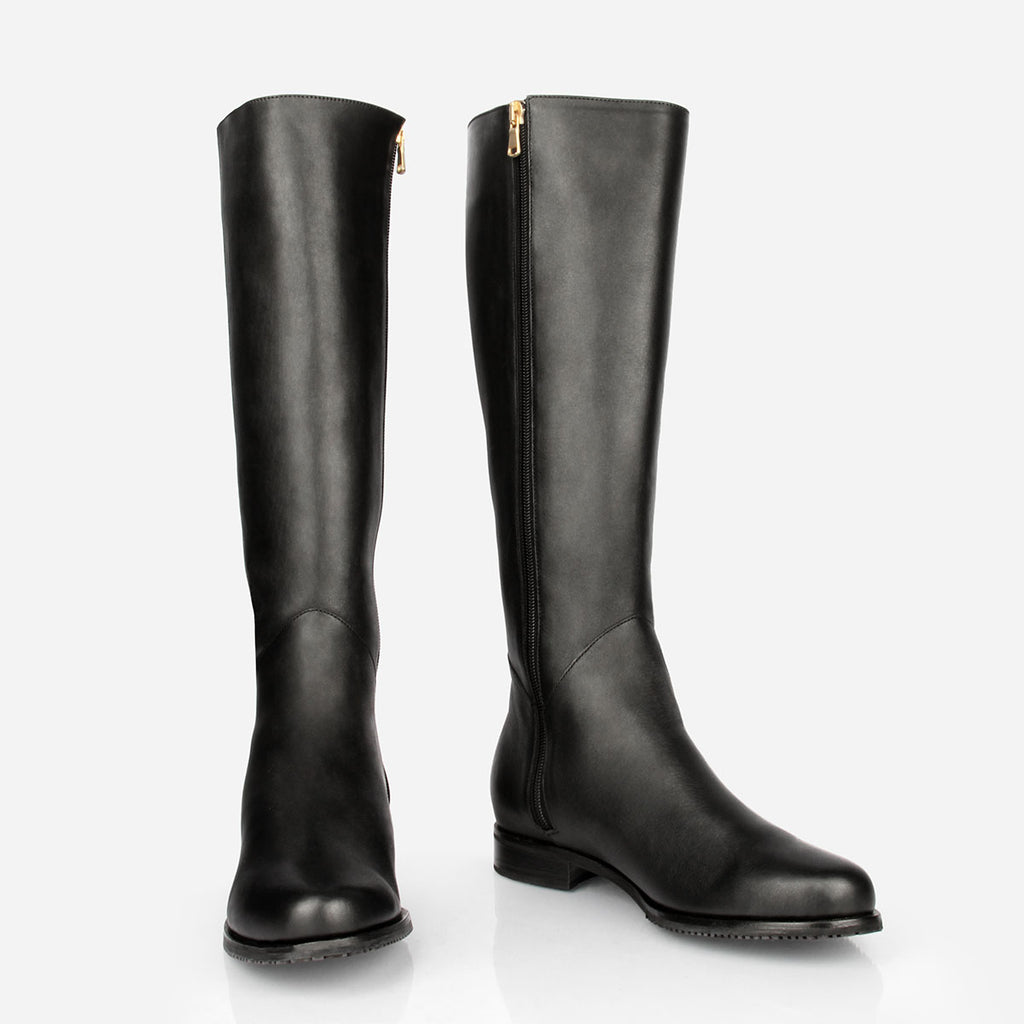 The Kensington Boot -  black leather tall boot - Poppy Barley