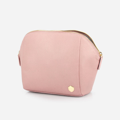 The Large Cosmetic Case Bag -  light pink pebble leather cosmetics toiletry bag - Poppy Barley