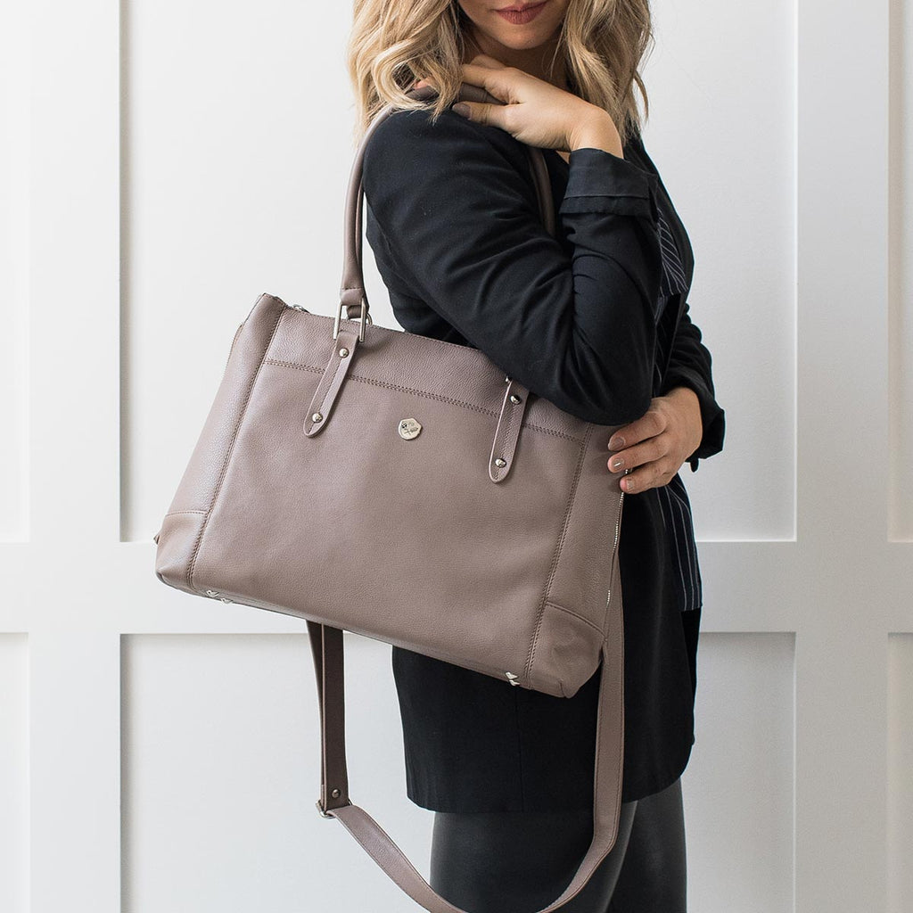 "The Perfect Handbag - the perfect taupe leather handbag that fits a 15"" laptop - Poppy Barley"