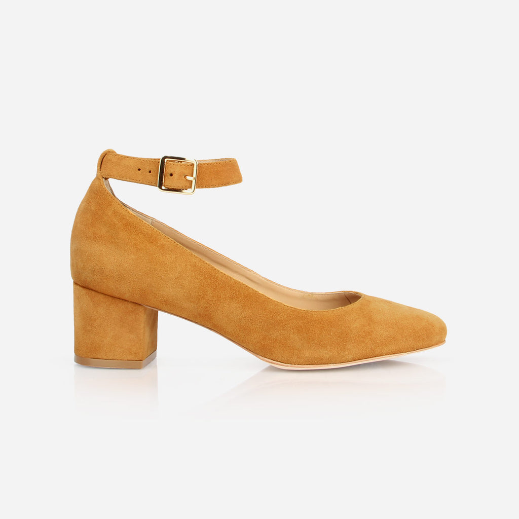 "The Rosemont Mary Jane - mustard suede women's rounded toe 2"" heel - Poppy Barley"