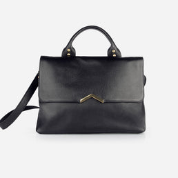 The Shoulder Satchel - black leather satchel handbag with crossbody - Poppy Barley