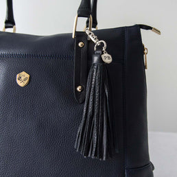 The Leather Tassel - black oversized leather hook tassel - Poppy Barley