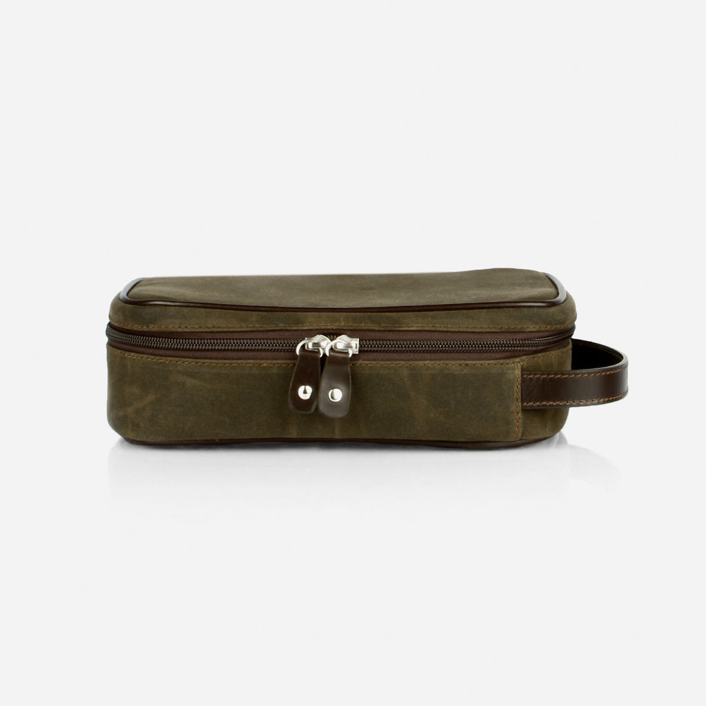 The Toiletry Kit - water resistant olive canvas and brown leather toiletry kit unisex - Poppy Barley