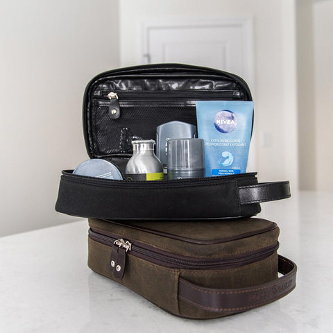 The Toiletry Kit - water resistant black canvas and leather toiletry kit unisex - Poppy Barley