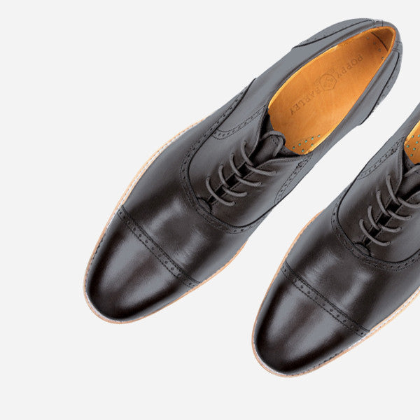 The Toronto Brogue - black leather mens dress shoe with broguing - Poppy Barley