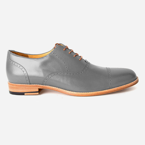 The Toronto Brogue - grey leather brogue mens custom dress shoes - Poppy Barley