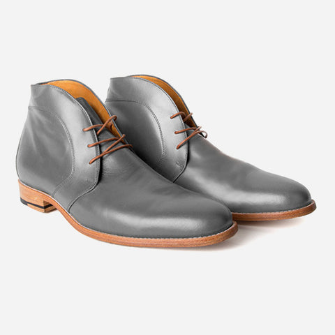The Vancouver Chukka - grey calf leather chukka boots with natural sole - Poppy Barley