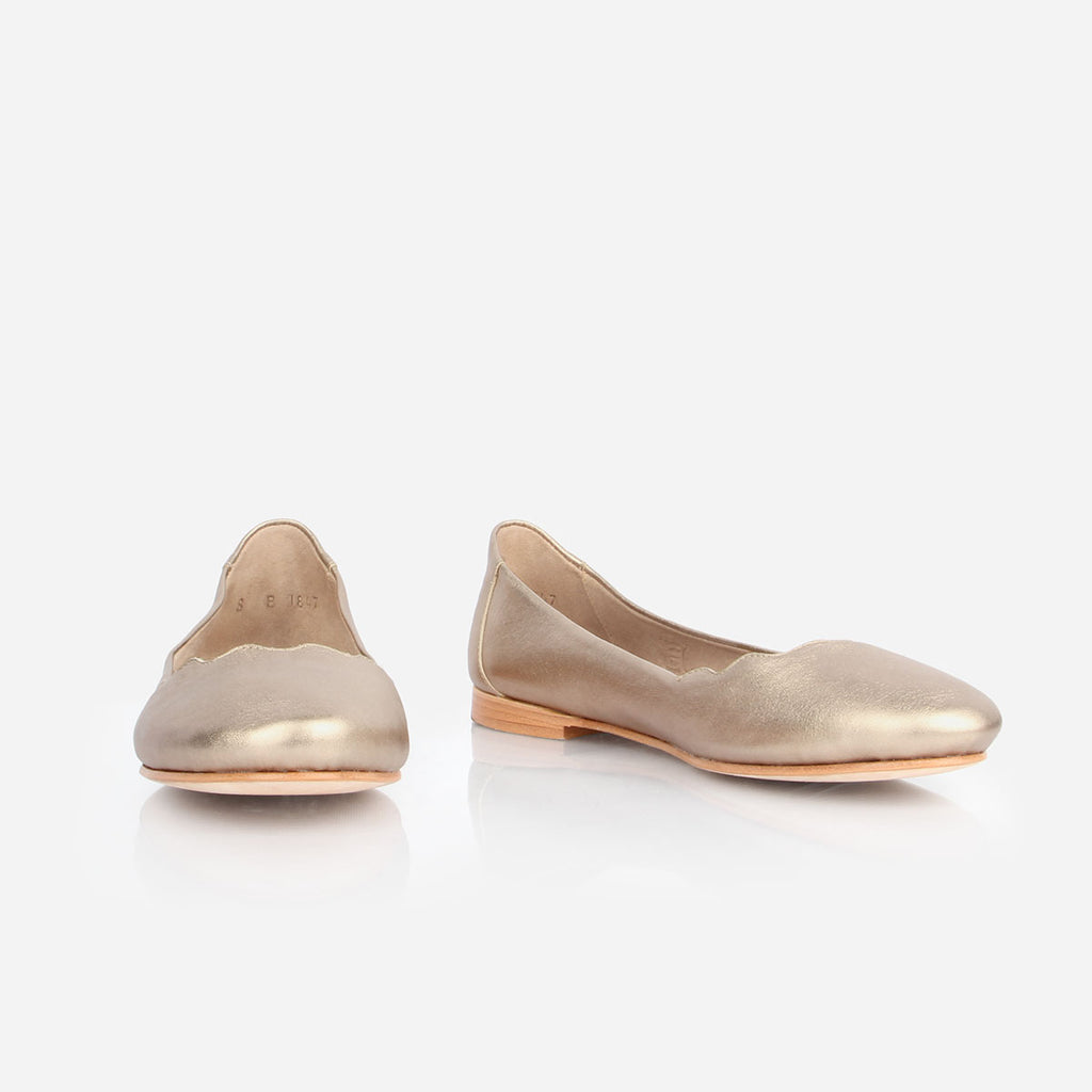 The Yaletown Ballet Flat Gold Sand Ready To Wear