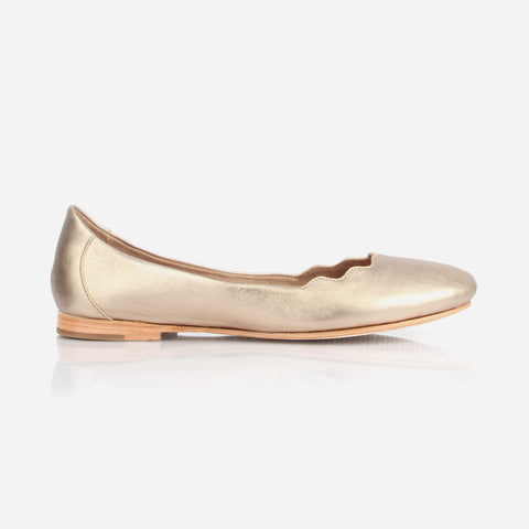 The Yaletown Ballet Flat -  metallic gold leather scallop flat - Poppy Barley