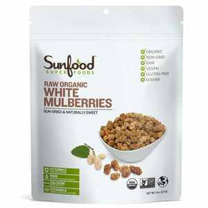 White Mulberries (Organic) - 8oz Sunfood - Paleo By Maileo