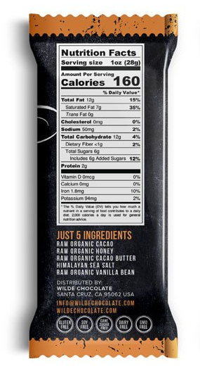 Hey Honey! Chocolate Bar - 1oz Wilde Chocolate - Paleo By Maileo Nutrition Facts
