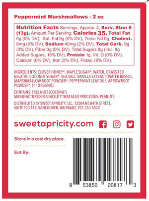 Peppermint Marshmallows - 2oz Sweet Apricity - Paleo By Maileo Nutrition Facts
